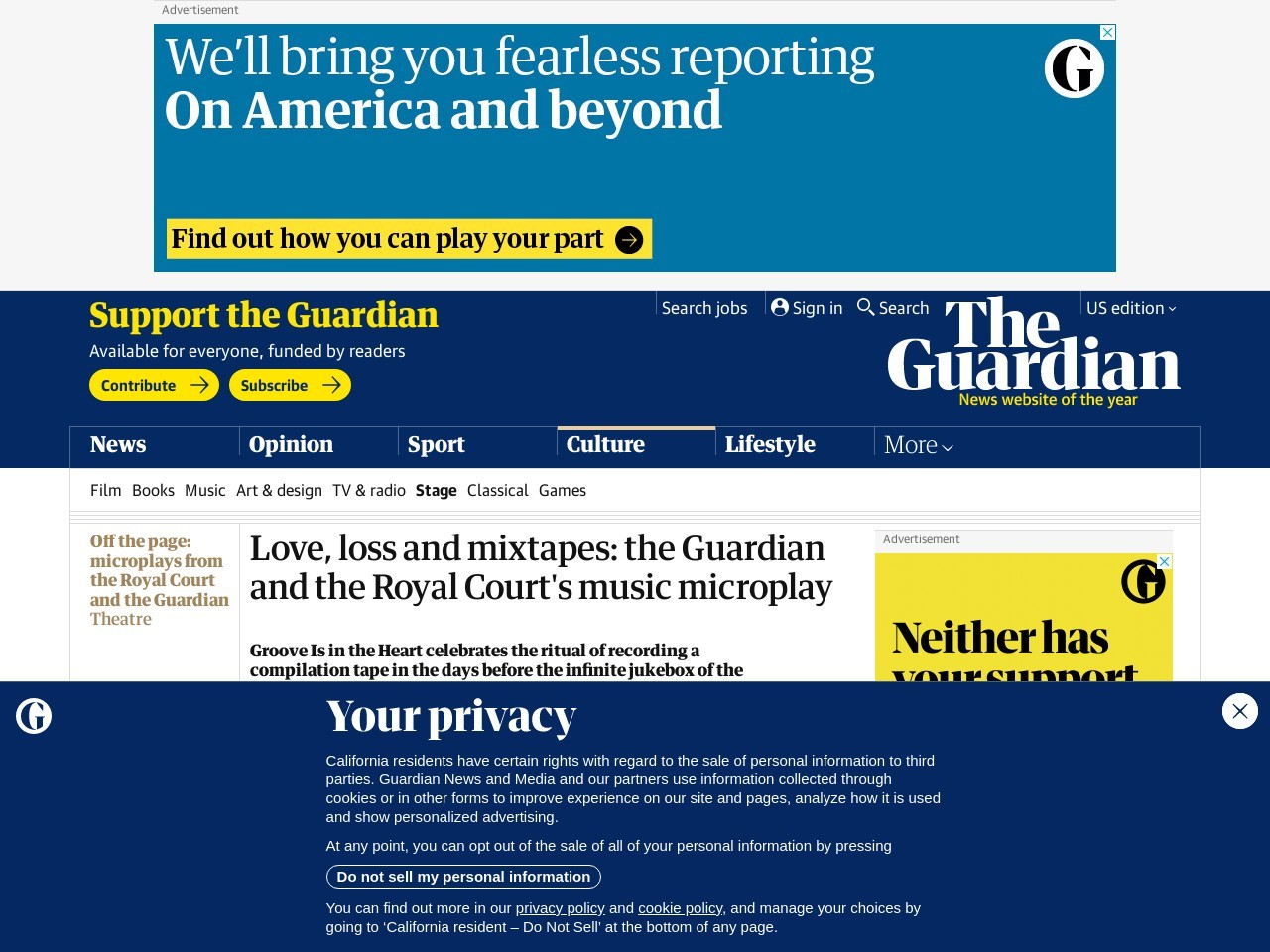 Love, loss and mixtapes: the Guardian and the Royal Court's music microplay