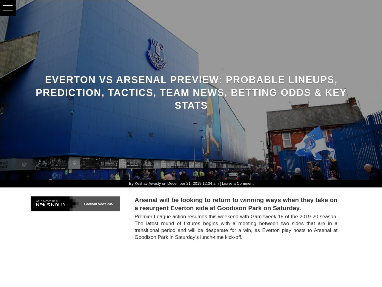 Everton vs Arsenal Preview: Probable Lineups, Prediction, Tactics…