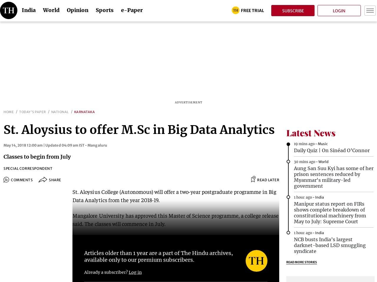 St. Aloysius to offer M.Sc in Big Data Analytics