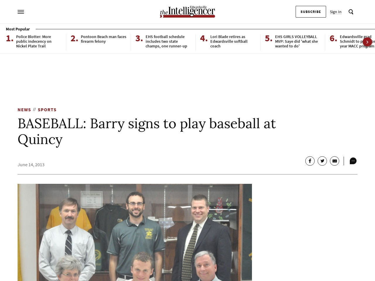 BASEBALL: Barry signs to play baseball at Quincy