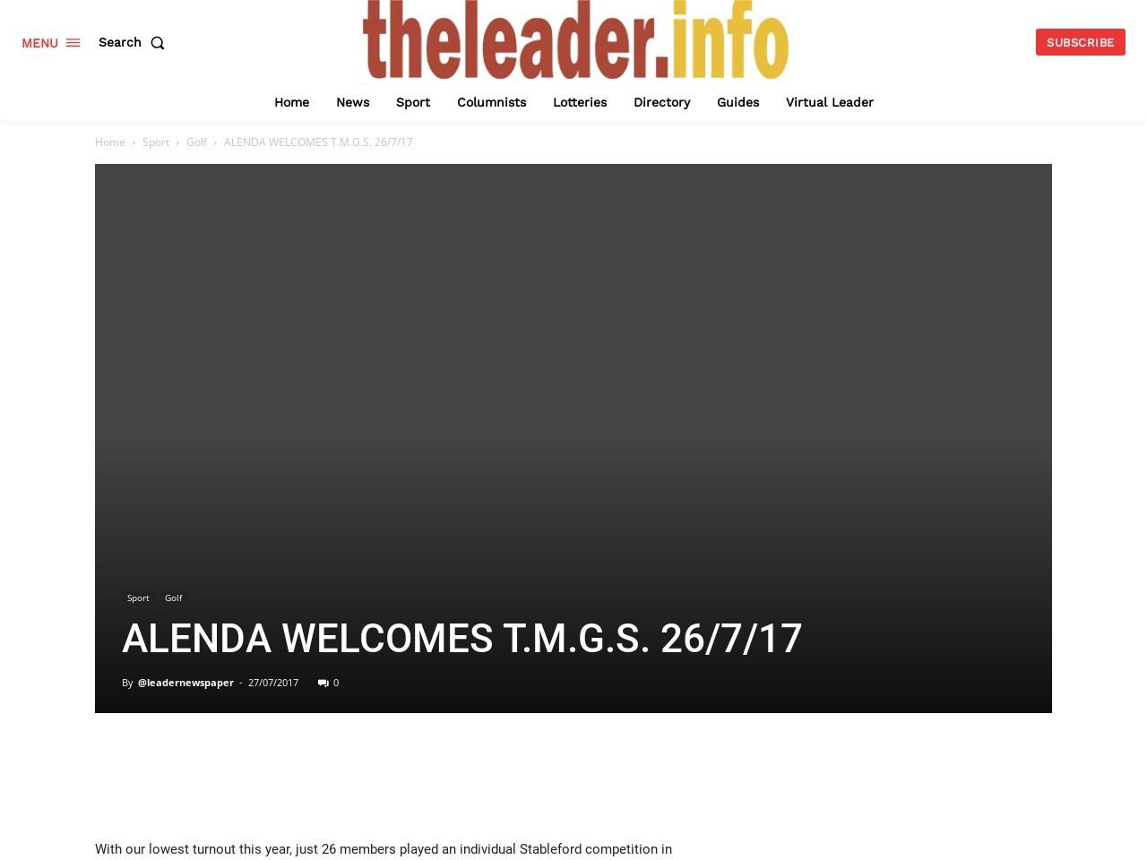 ALENDA WELCOMES T.M.G.S. 26/7/17
