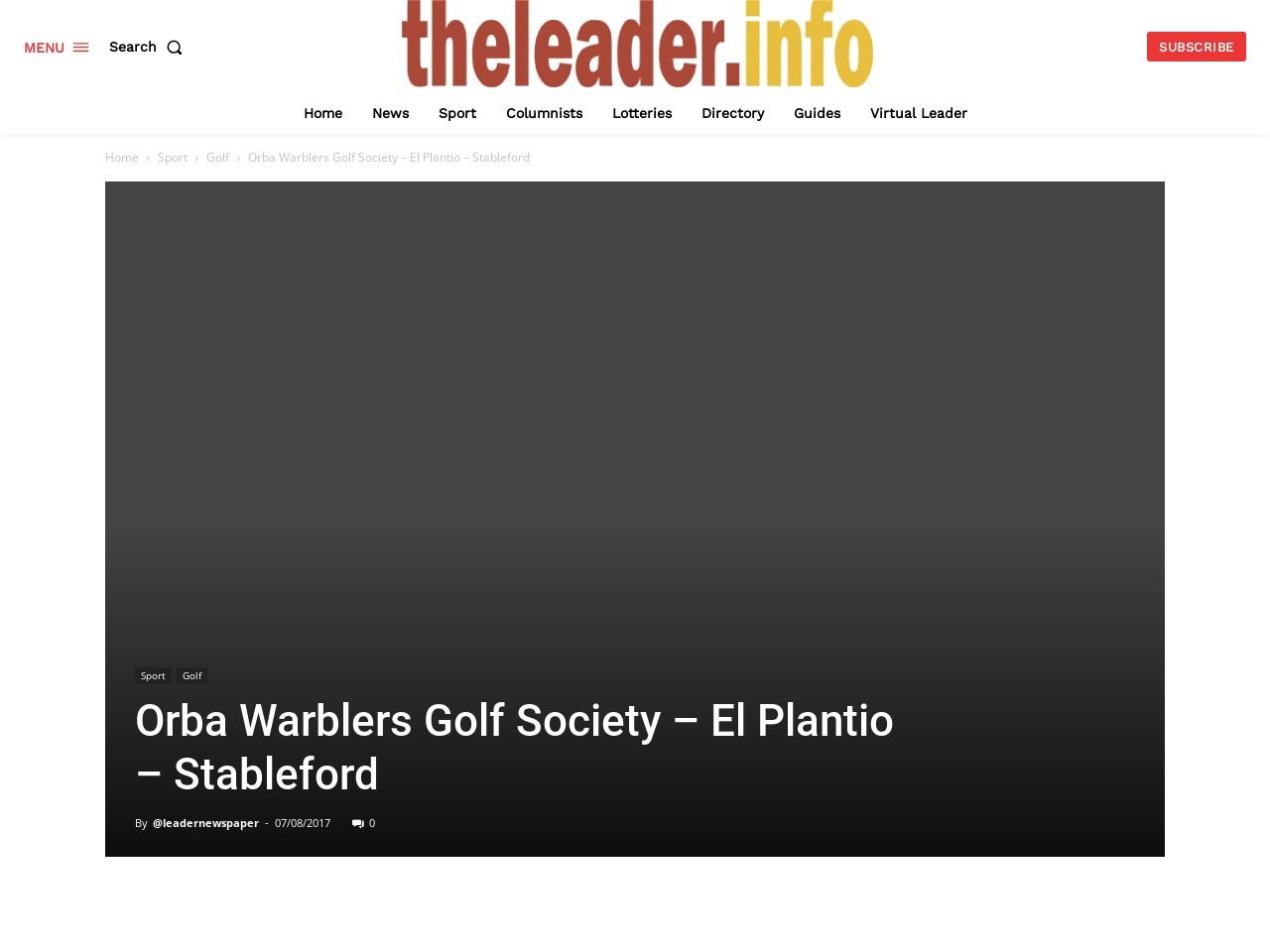Orba Warblers Golf Society –El Plantio – Stableford