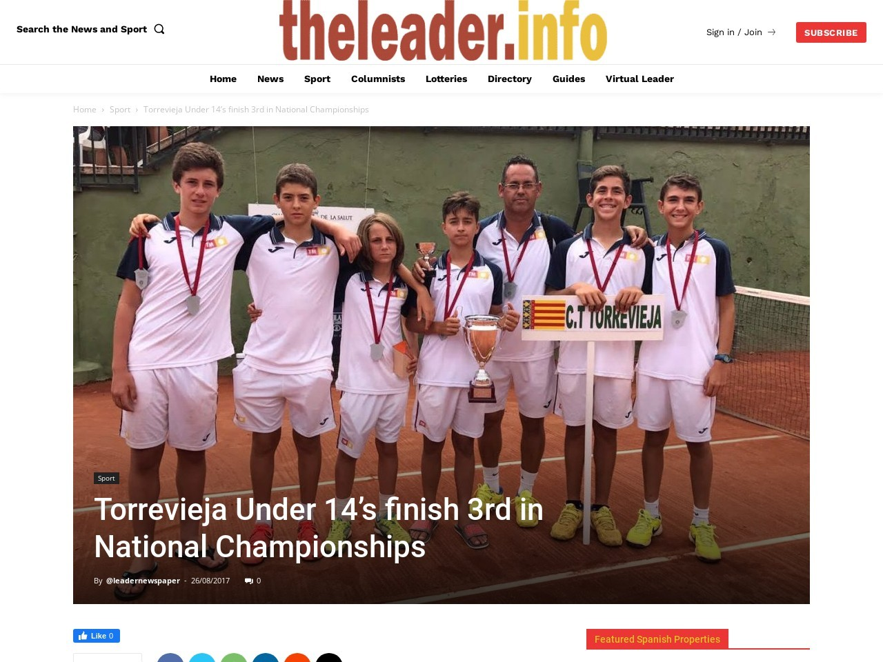 Torrevieja Under 14's finish 3rd in National Championships
