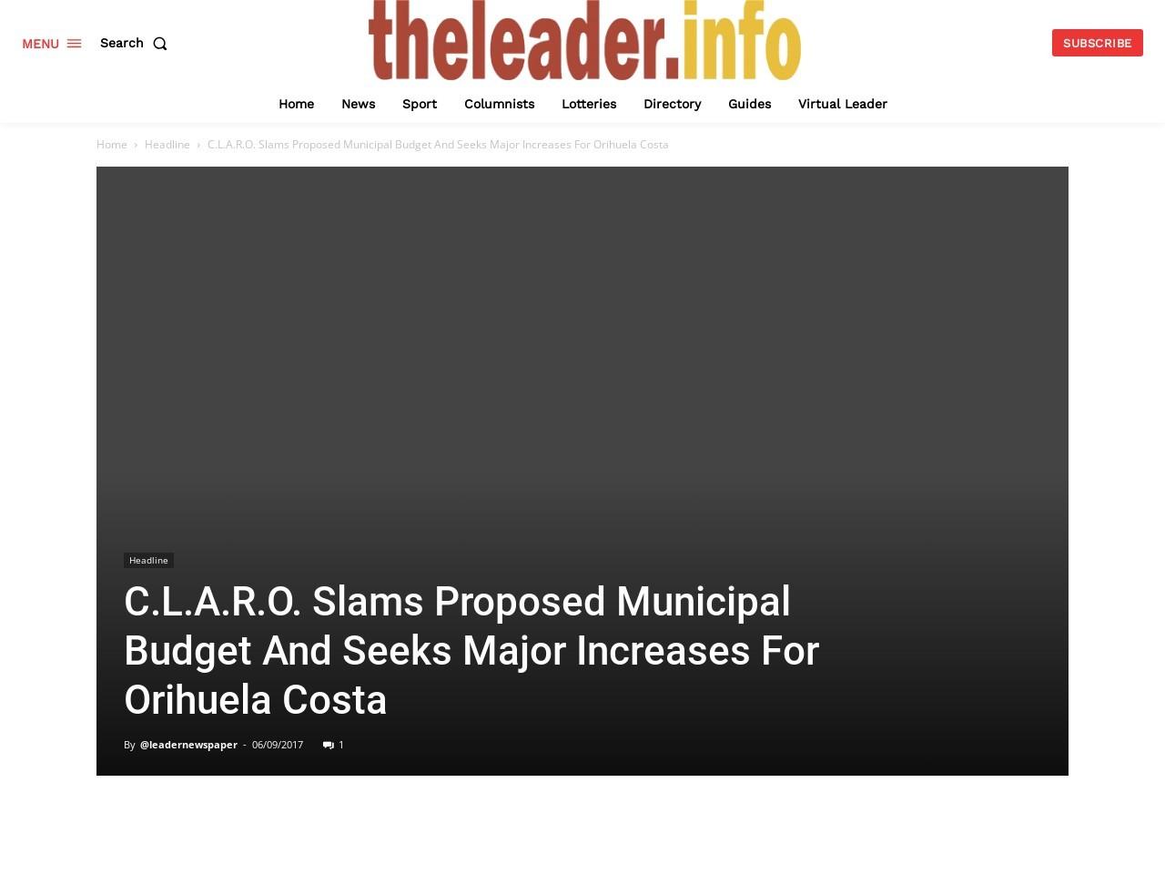 C.L.A.R.O. Slams Proposed Municipal Budget And Seeks Major Increases For Orihuela Costa