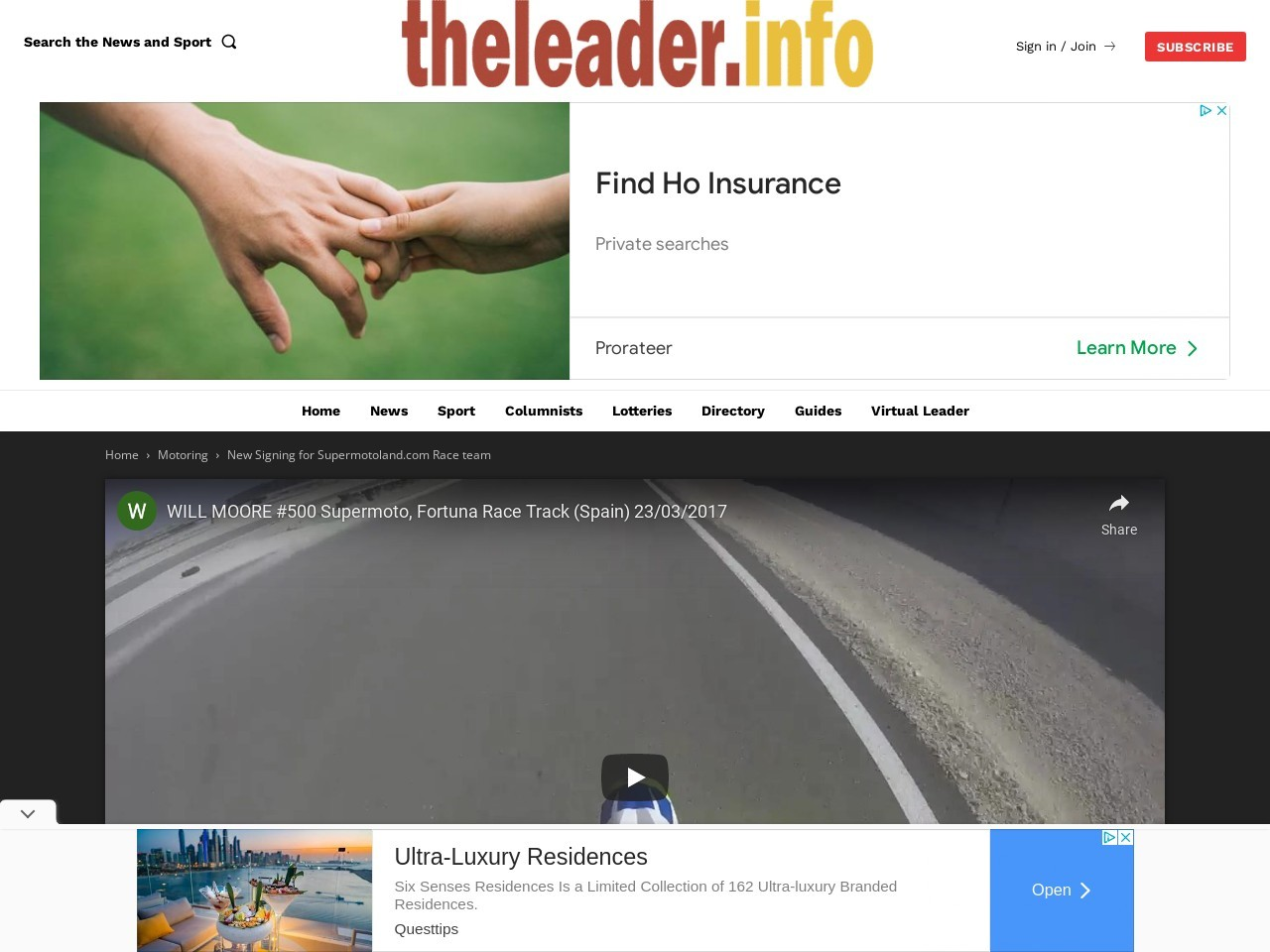 New Signing for Supermotoland.com Race team