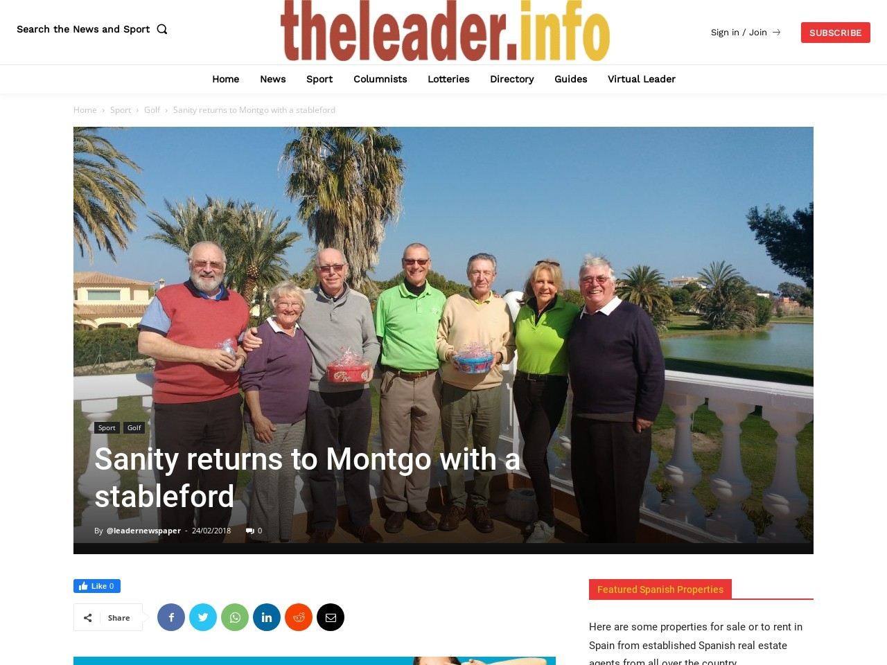 Sanity returns to Montgo with a stableford