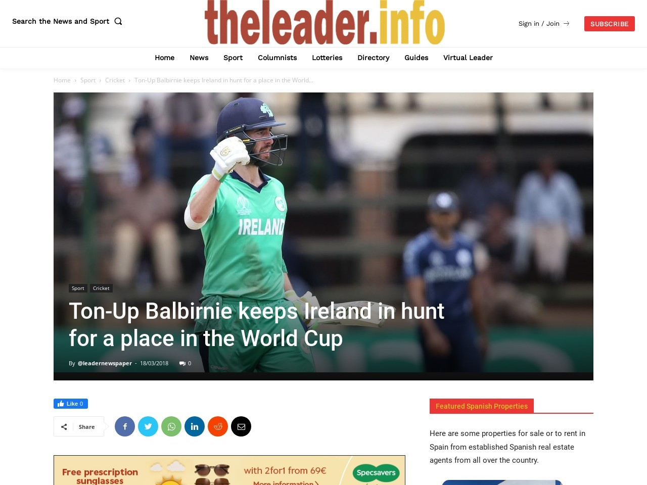 Ton-Up Balbirnie keeps Ireland in hunt for a place in the World Cup