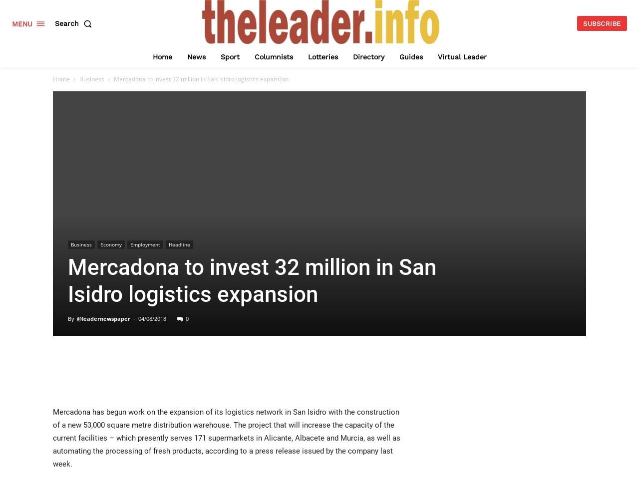 Mercadona to invest 32 million in San Isidro logistics expansion