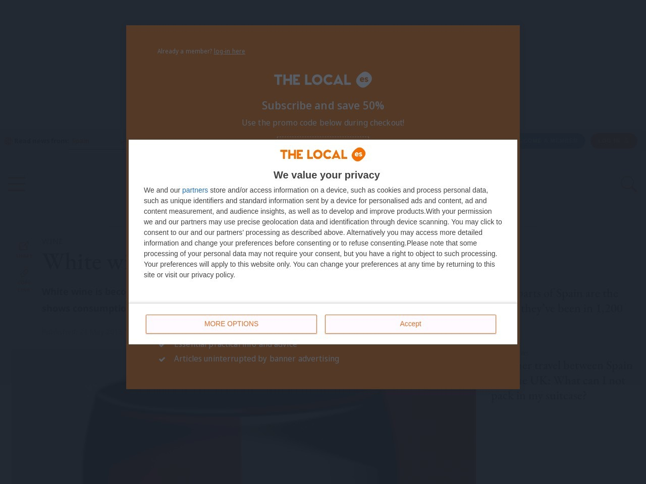 White wine topples tinto in Spain
