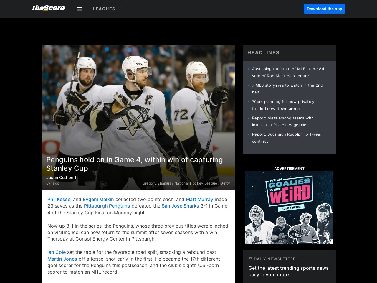 Penguins hold on in Game 4, within win of capturing Stanley Cup
