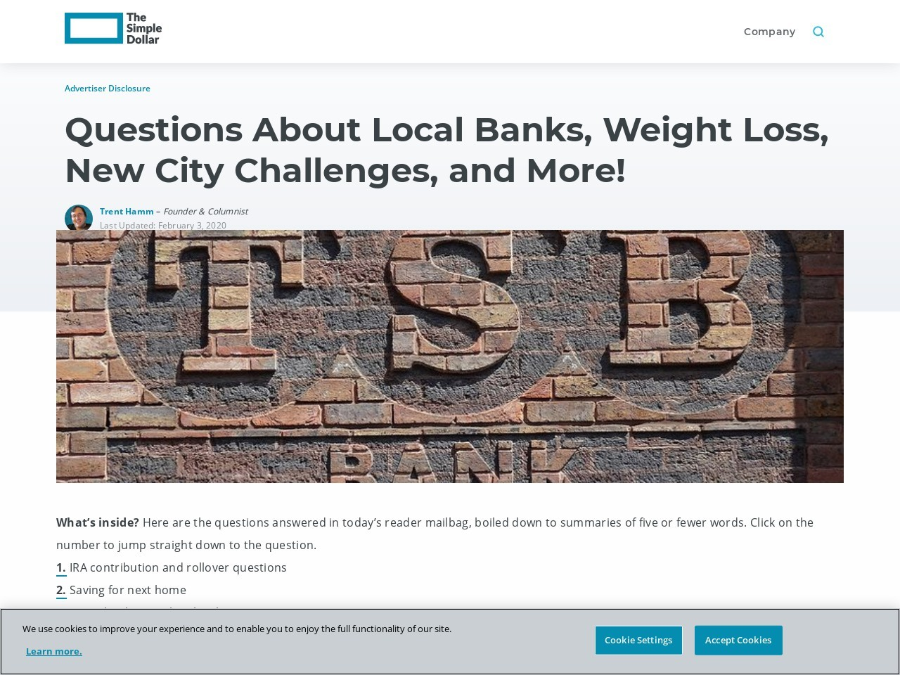 Questions About Local Banks, Weight Loss, New City Challenges, and More!