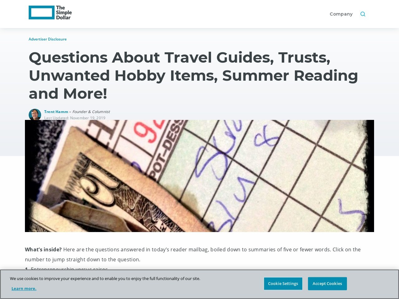 Questions About Travel Guides, Trusts, Unwanted Hobby Items, Summer Reading and More!