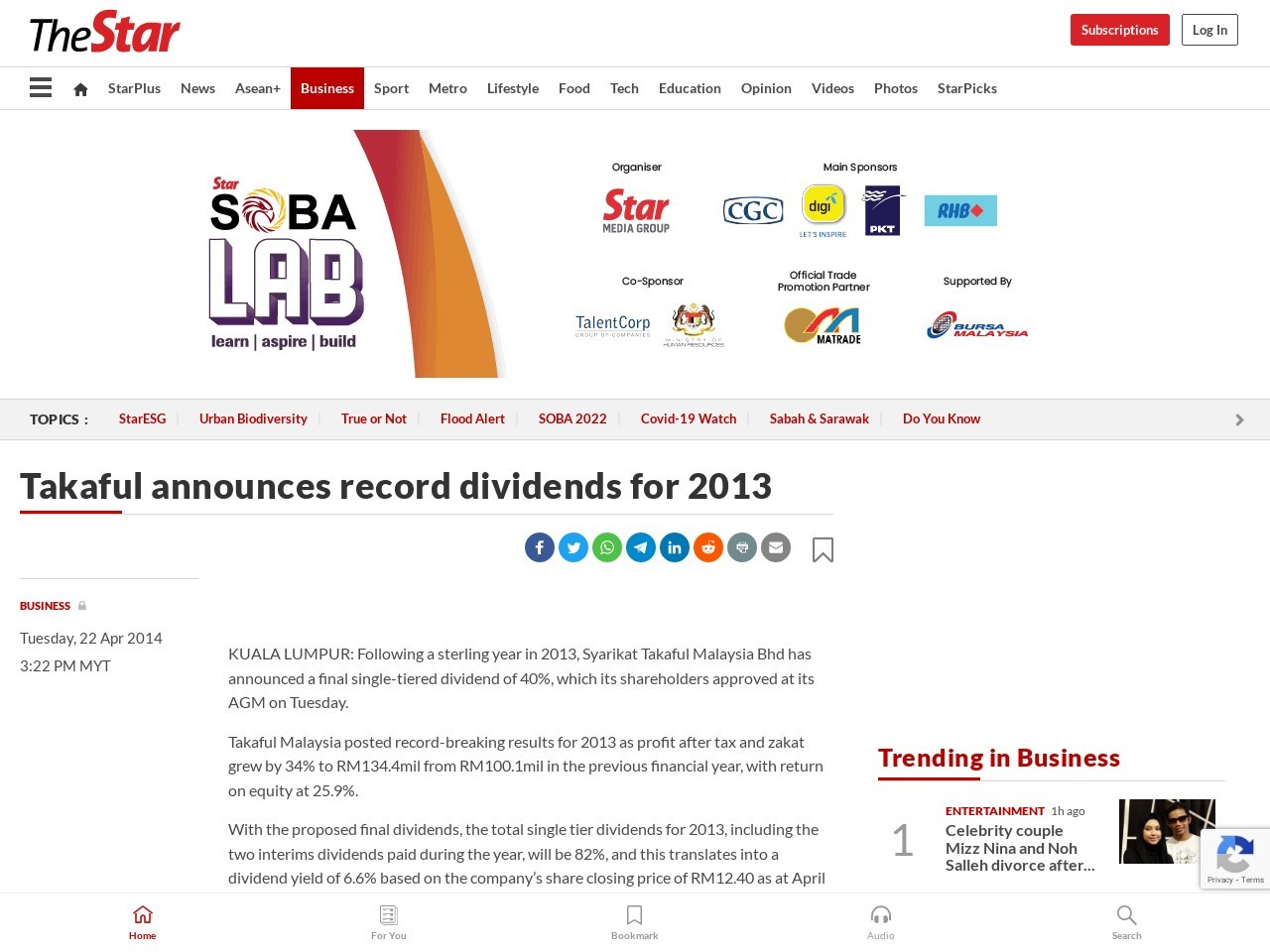 Takaful announces record dividends for 2013