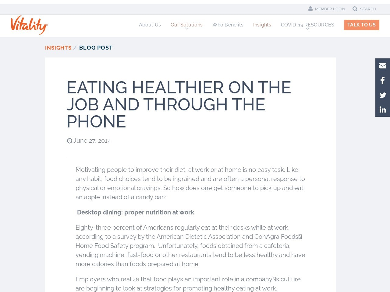 Eating healthier on the job and through the phone | Vitality