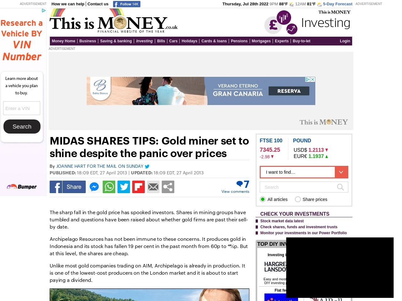 MIDAS SHARES TIPS: Gold miner set to shine despite the panic over prices