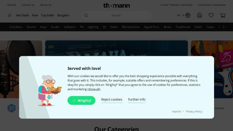 www.thomann.de Vorschau, Musikhaus Thomann