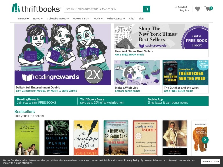 Thriftbooks.com screenshot