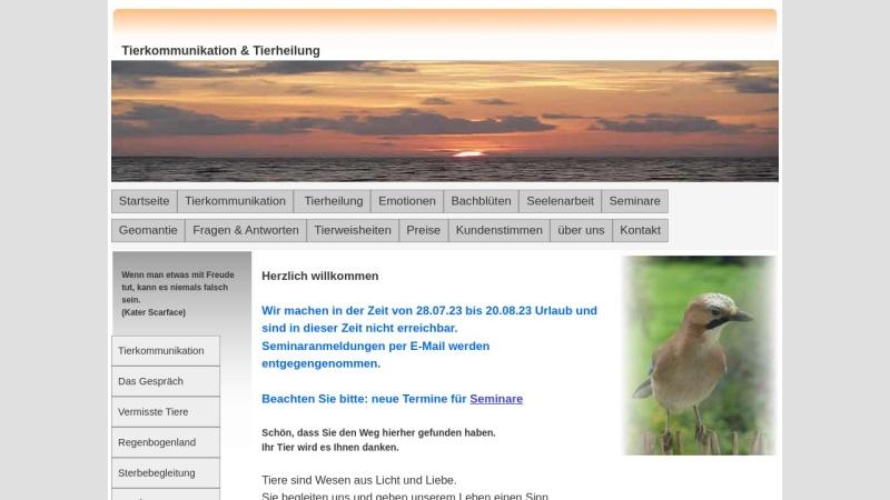 www.tierkommunikation-tierheilung.de Vorschau, Tierkommunikation und Tierheilung Peter Demel