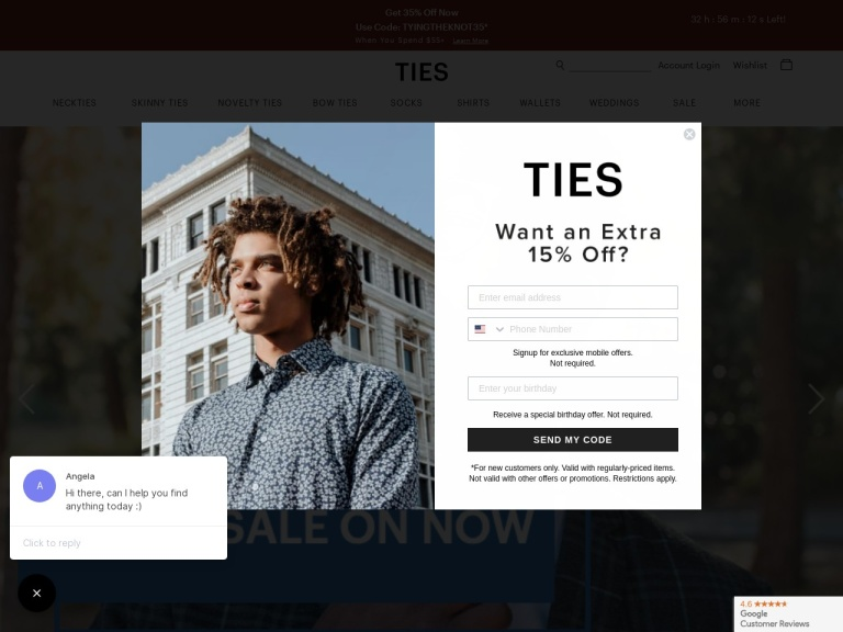 Ties.com & Scarves.com screenshot