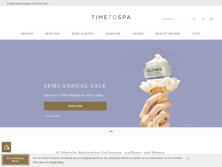 Timetospa.com screenshot