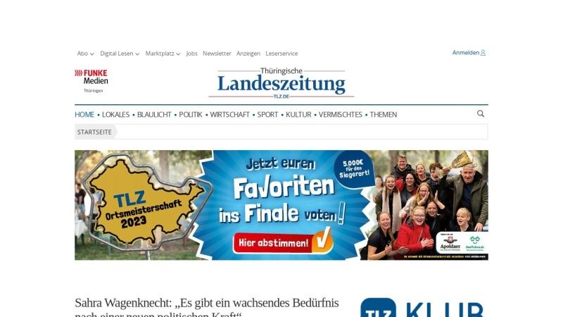www.tlz.de Vorschau, TLZ - Thüringische Landeszeitung