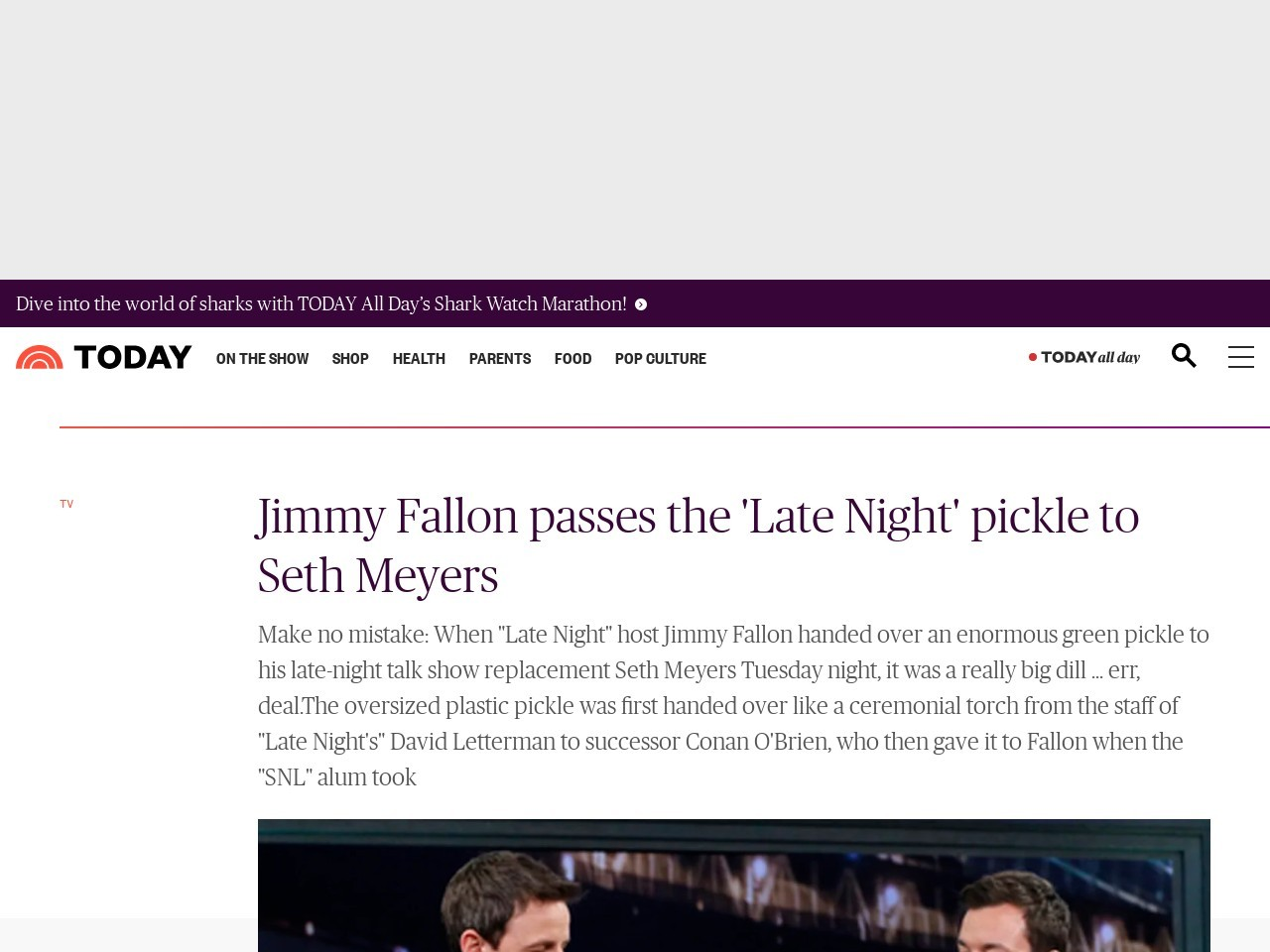 Jimmy Fallon passes the 'Late Night' pickle to Seth Meyers – TODAY …