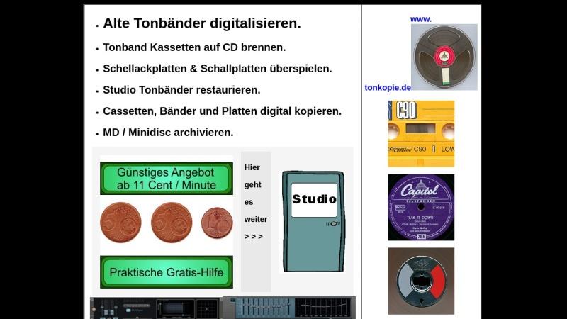 www.tonkopie.de Vorschau, Sicherung von Tonträgern auf CD