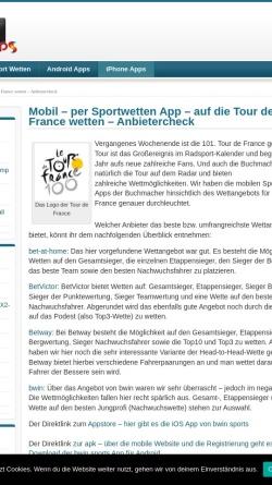 Vorschau der mobilen Webseite www.tourspiel.de, Tippspiel zur Tour de France