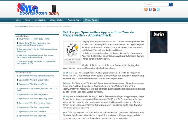 Vorschau von www.tourspiel.de, Tippspiel zur Tour de France