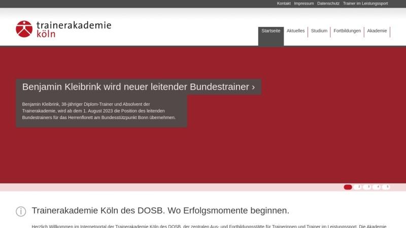 www.trainerakademie-koeln.de Vorschau, Trainerakademie Köln des Deutschen Sportbundes