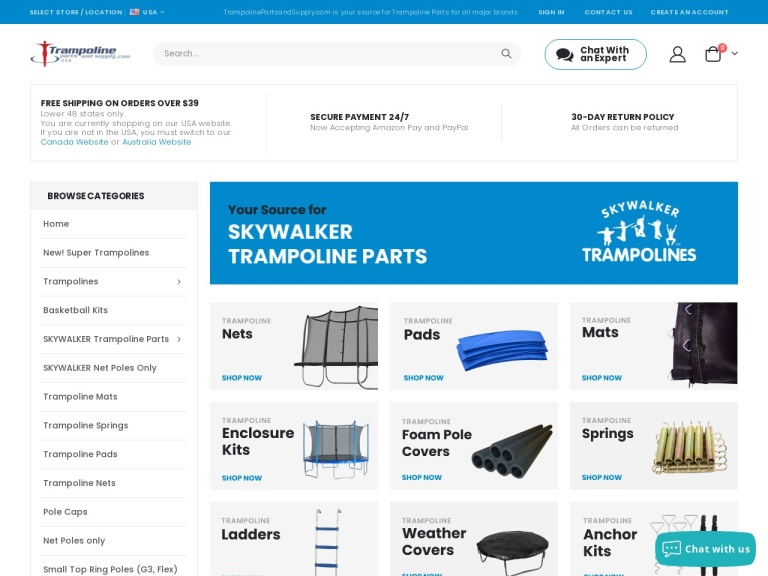 Trampoline Parts And Supply screenshot