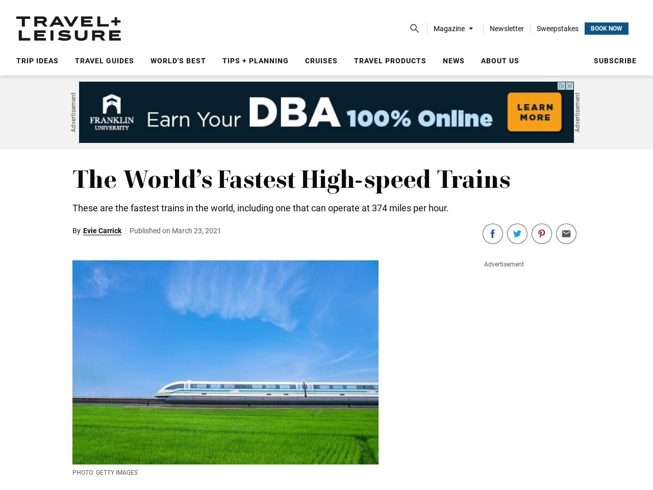 World's Fastest Trains – Articles | Travel + Leisure