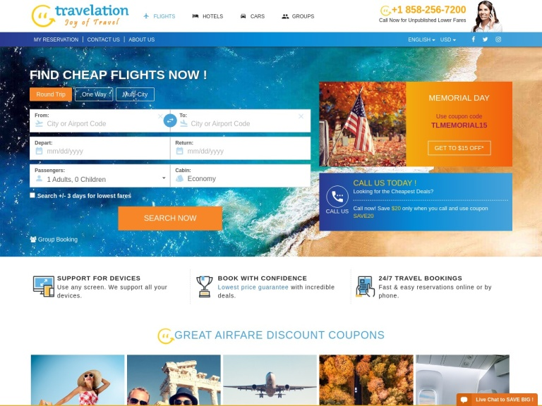 Travelation.com-Cheap Flight Sale! Book Now and Get $15 Off! Use Coupon Code TLAIR15!