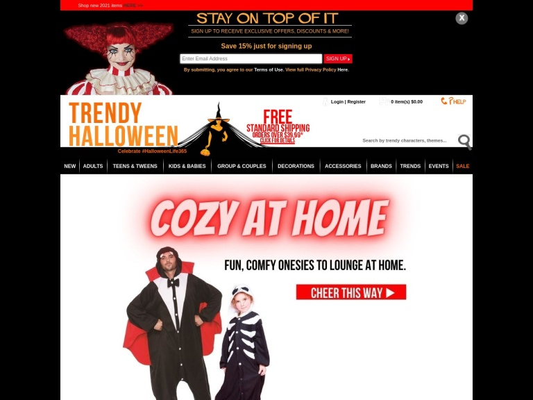 70% on costumes at TrendyHalloween. No expiration date. Celebrate #HalloweenLife365
