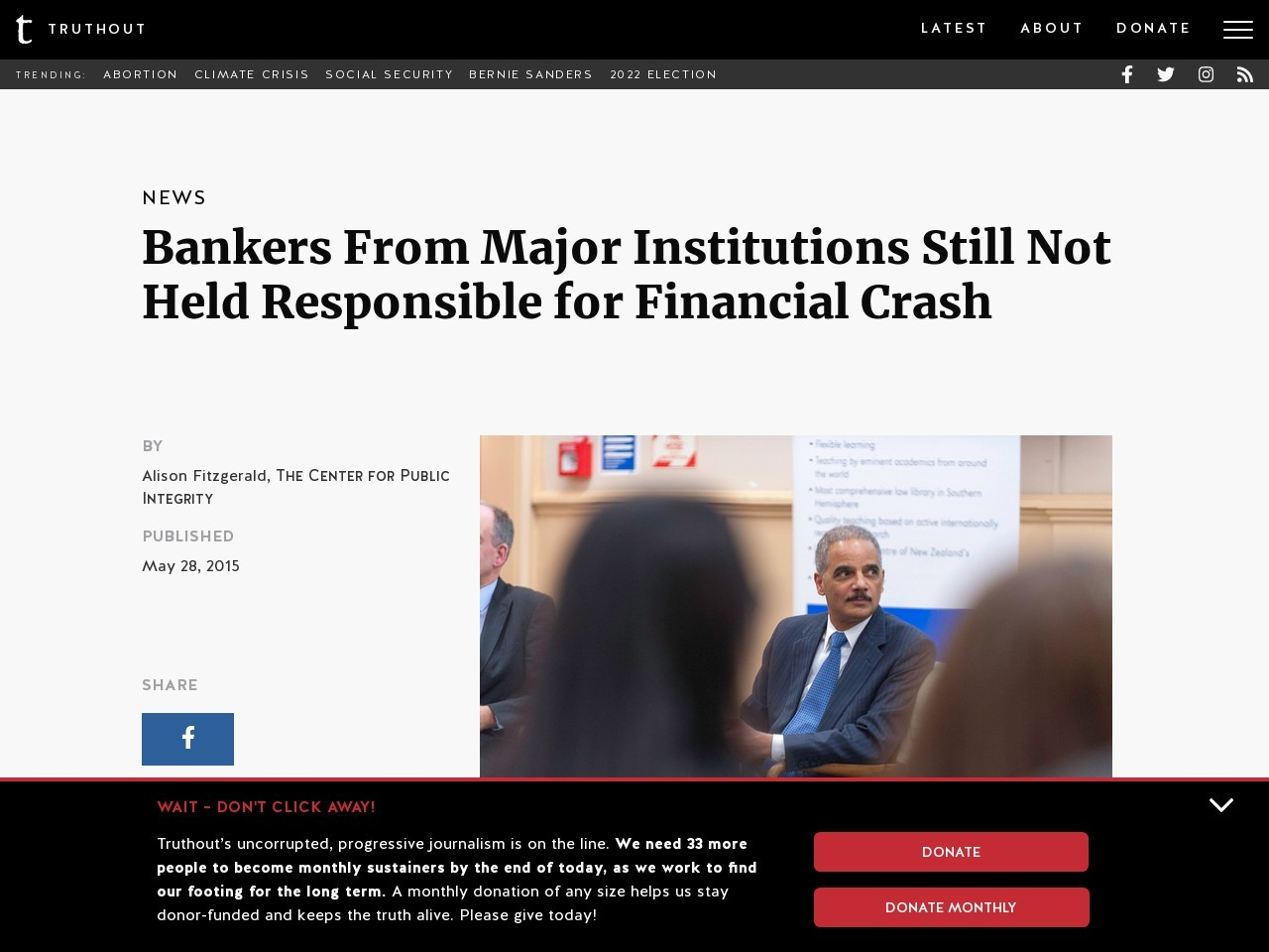 Bankers From Major Institutions Still Not Held Responsible for Financial Crash