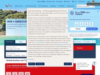 Screenshot der Website tui.com
