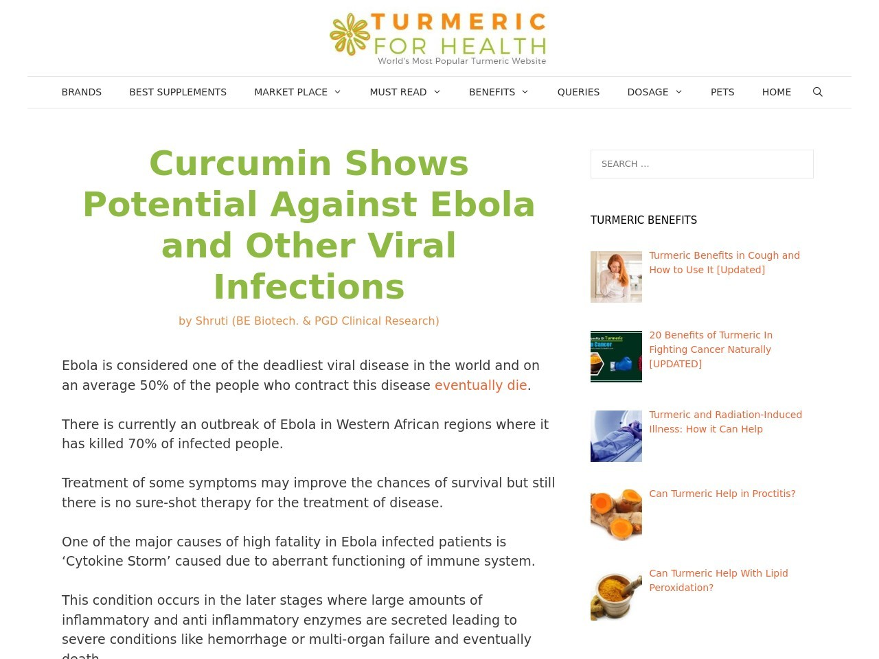 Curcumin Shows Potential Against Ebola and Other Viral …