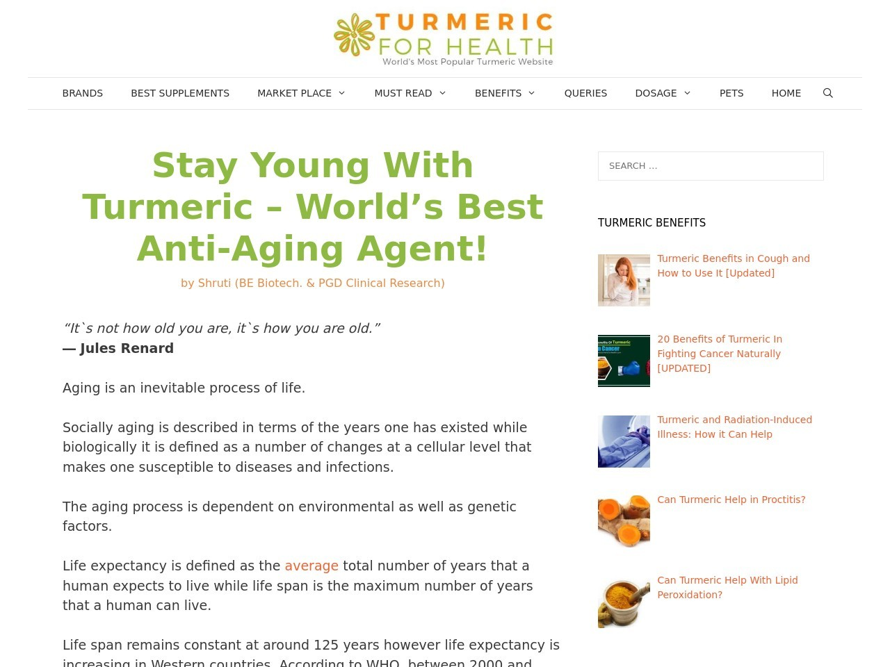 Stay Young With Turmeric – World's Best Anti-Aging Agent …