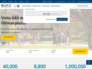 Captura de pantalla para uax.es