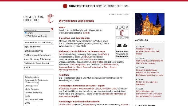 www.ub.uni-heidelberg.de Vorschau, Universitätsbibliothek Heidelberg