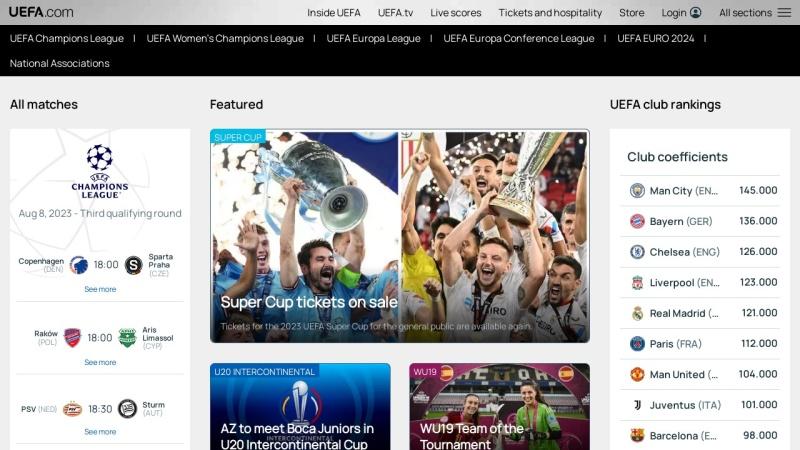 www.uefa.com Vorschau, UEFA