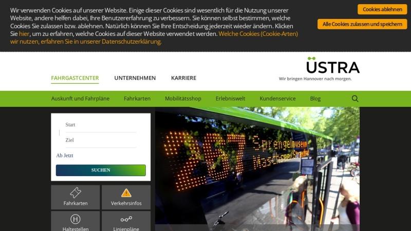www.uestra.de Vorschau, Üstra Hannoversche Verkehrsbetriebe AG