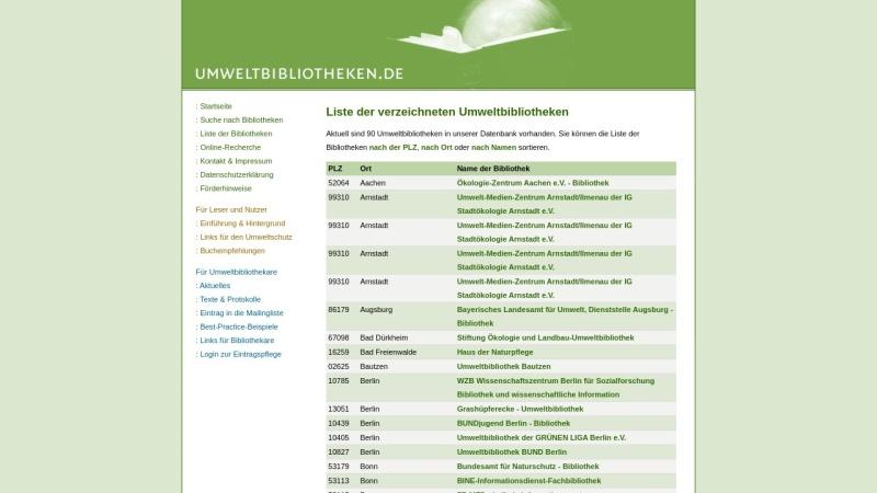 www.umweltbibliotheken.de Vorschau, Umweltbibliotheken Verzeichnis