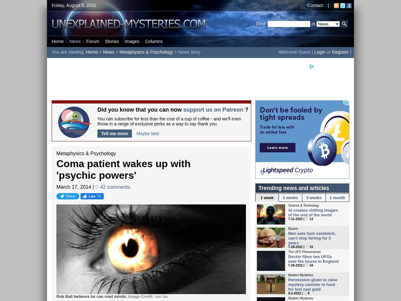 Coma patient wakes up with 'psychic powers'