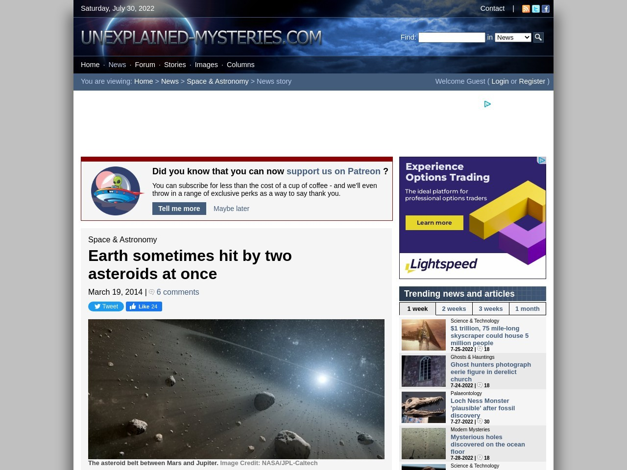 Earth sometimes hit by two asteroids at once