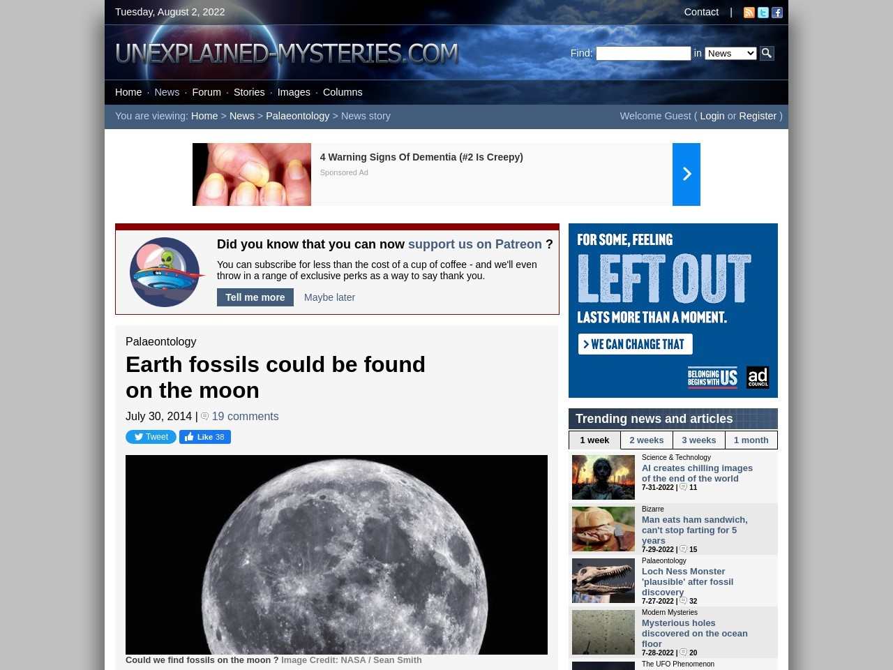 Earth fossils could be found on the moon