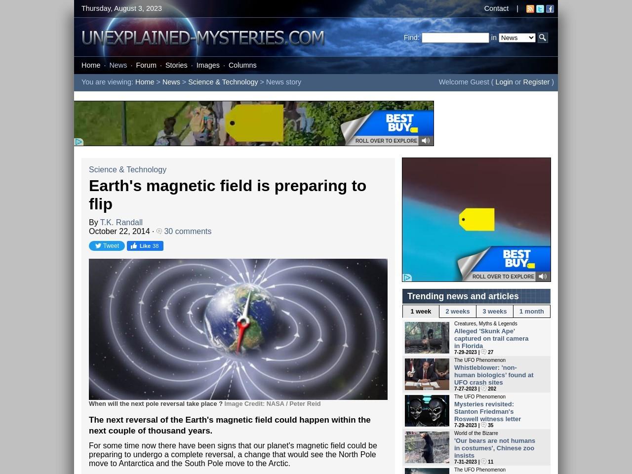 Earth's magnetic field is preparing to flip