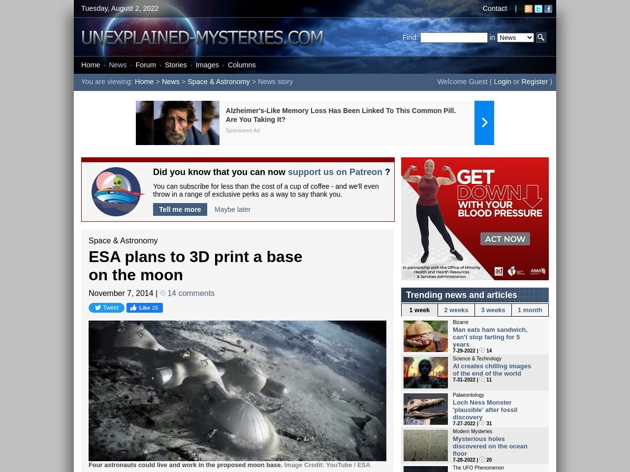 ESA plans to 3D print a base on the moon