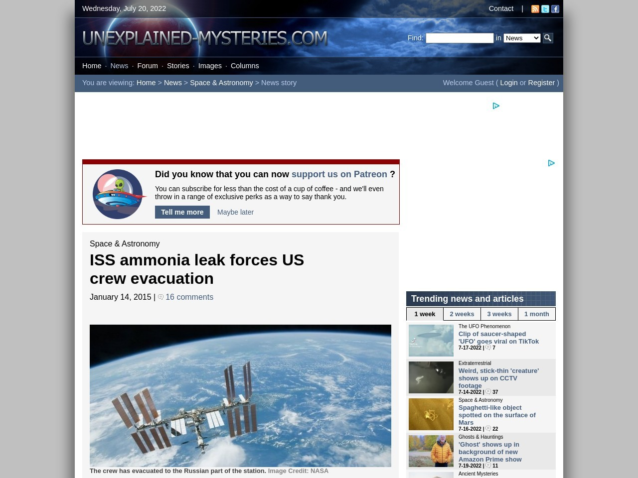 ISS ammonia leak forces US crew evacuation