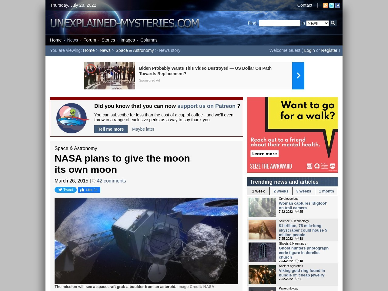 NASA plans to give the moon its own moon